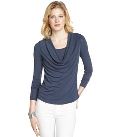 Three Dots seastorm stretch cowl neck long sleeve top