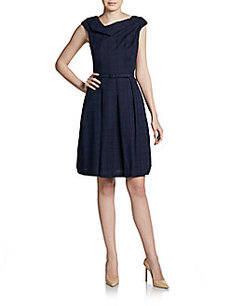 David Meister Asymmetrical Belted Cap-Sleeve Dress