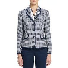 Jacquard-Woven Jacket with Contrasting Trim