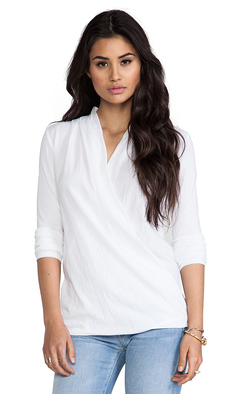 James Perse Relaxed Drape Front Top in White