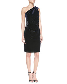 David Meister Ruched One-Shoulder Cocktail Dress