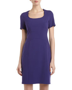 Marc New York by Andrew Marc Stretch Short-Sleeve Dress, Purple