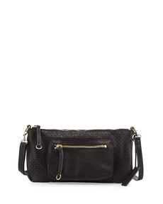 Linea Pelle Dylan Perforated Leather Crossbody Bag, Black
