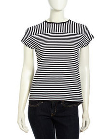 L.A.M.B. Striped Knit Short-Sleeve Tee, Black/White