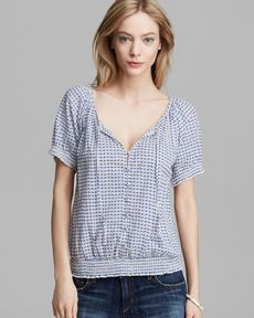 Joie Top - Dorella Simple Squares Print