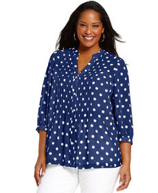Charter Club Plus Size Three-Quarter-Sleeve Printed Blouse
