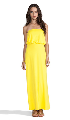 "Susana Monaco Light Supplex Blouson Tube 40"" Dress in Yellow"