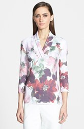 St. John Collection Garden Floral Print Surplice V-Neck Tee