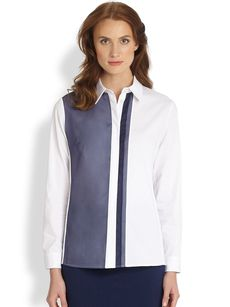 Saks Fifth Avenue Collection Poplin Organza-Detail Blouse