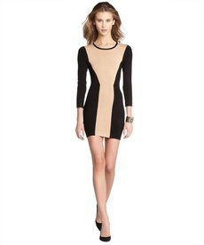 French Connection camel and black colorblock shift sweater dress
