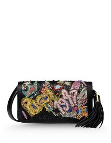 EMILIO PUCCI Satin Sequins Tassels Beaded detailing Solid color Magnetic closure Lined interior Adjustable shoulder straps Messenger bags Mini Satin not made of fur