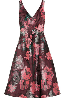 Lela Rose Floral-patterned fil coupé dress