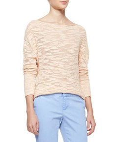 Boat-Neck Slub Knit Sweater   Boat-Neck Slub Knit Sweater