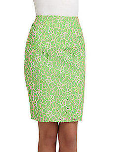 Lilly Pulitzer Hyacinth Floral Lace Pencil Skirt