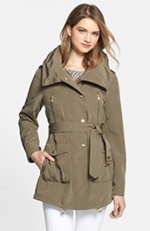 London Fog Asymmetrical Snap Front Trench Coat with Hidden Hood
