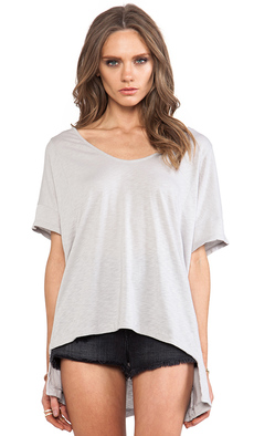 Michael Stars V Neck High Low Tee in Blue