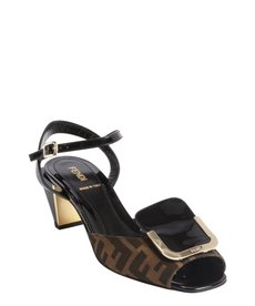Fendi brown zucca canvas and patent leather buckle detail heel sandals