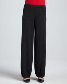 Joan Vass Silk-Cashmere Wide-Leg Pants
