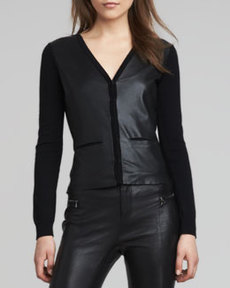 J Brand Ready to Wear Eileen Leather-Front Cardigan