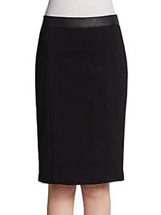Saks Fifth Avenue BLACK Faux Leather-Trimmed Pencil Skirt