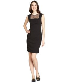 Calvin Klein black lace trim cap sleeve dress