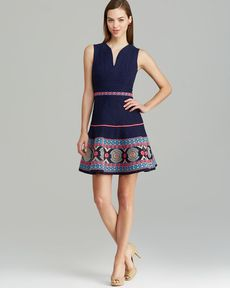 Shoshanna Dress - Alexandria Sleeveless V Neck Embroidered