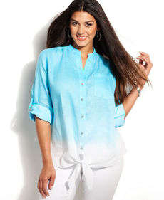 INC International Concepts Plus Size Dip-Dye Button-Down Tie-Front Shirt