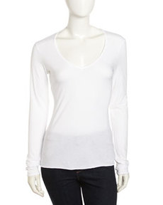 James Perse V-Neck Long-Sleeve Shirt, Deep White