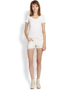 J Brand Faded Floral-Print Denim Cut-Off Shorts