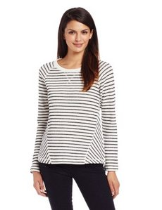 Jones New York Women's Long Sleeve Scoop Neck Shirt with Contrast Stripe