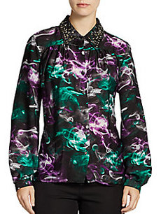 Ellen Tracy Embellished Collar Poet Top