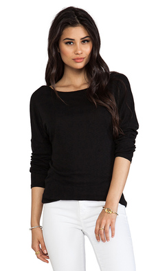 Michael Stars Long Sleeve Slim Boatneck with Banded Hem in Black