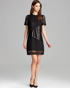 Robert Rodriguez Dress - Lace Illusion Overlay Shift