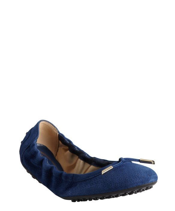 Tod's baltic blue textured suede tasseled ballet flats