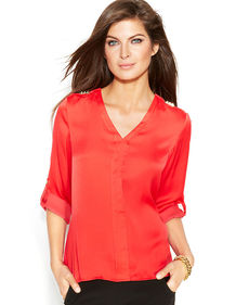 Ellen Tracy Roll-Tab-Sleeve Studded Blouse