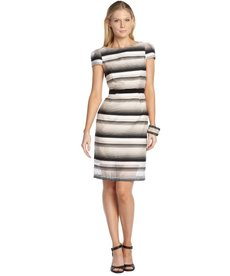 A.B.S. by Allen Schwartz black and white stretch cotton blend striped short sleeve dress