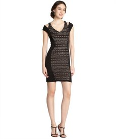 A.B.S. by Allen Schwartz black and nude knit slit cap sleeve dress