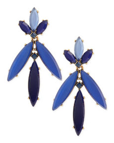 Marquise Resin Drop Clip-On Earrings, Lapis Blue   Marquise Resin Drop Clip-On Earrings, Lapis Blue