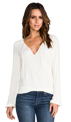 Michael Stars Shirred Blouse in Ivory