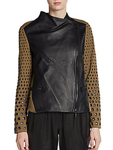Robert Rodriguez Mixed-Media Eyelet Sleeve Jacket