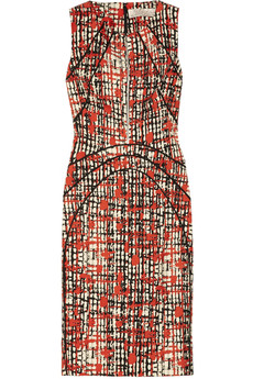 Lela Rose Printed wool and silk-blend dress
