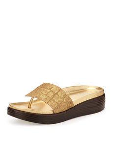 Donald J Pliner Fifi Croc-Embossed Calf Hair Thong Slide, Gold