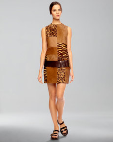 Michael Kors Calf-Hair Patchwork Shift Dress