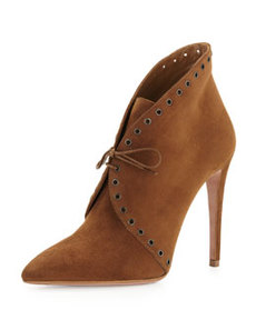 Eyelet Suede Lace-Up Bootie, Brown   Eyelet Suede Lace-Up Bootie, Brown