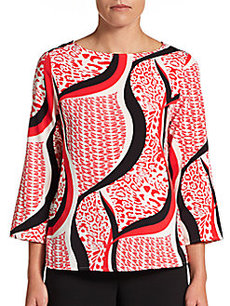 Ellen Tracy Multi-Print Woven Top