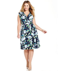 Charter Club Plus Size Floral-Print Faux-Wrap A-Line Dress