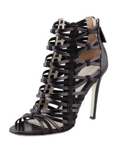 Strappy Leather & Suede Cage Sandal   Strappy Leather & Suede Cage Sandal