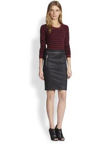 Burberry Brit Waxed-Cotton Pencil Skirt