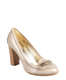 Tod's taupe glossed leather loafer pumps