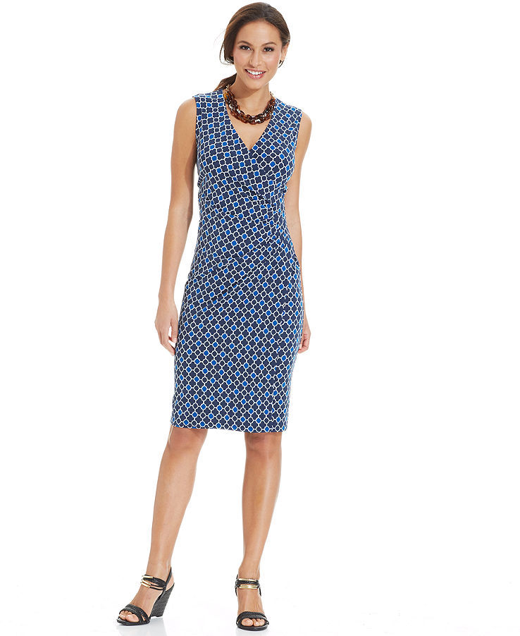 Charter Club Petite Sleeveless Printed Faux-Wrap Dress